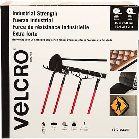 "VELCRO® Brand Heavy Duty Stick On Fasteners - 2"" Width x 49 ft Length - Adhesive, Durable, Heavy Duty - 1 Each - Black"