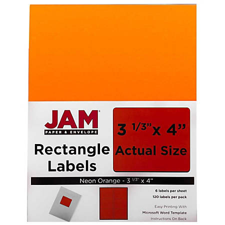 "JAM Paper® Mailing Address Labels, 354328043, 4"" x 3 5/16"", Neon Orange, Pack Of 120"