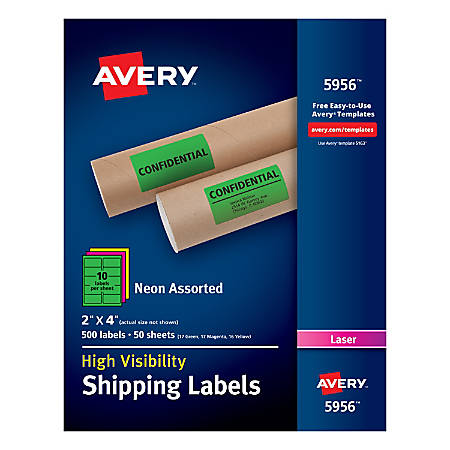 "Avery® High-Visibility Permanent Shipping Labels, 5956, 2"" x 4"", Assorted Colors, Pack Of 500"