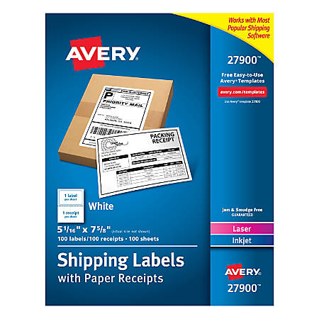 Avery Shipping Labels With Paper Receipts 27900 5 116 X 7 58 White