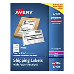 "Avery® Shipping Labels With Paper Receipts, 27900, 5 1/16"" x 7 5/8"", White, Pack Of 100"