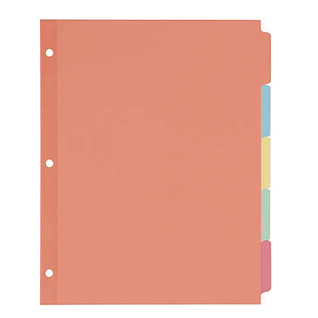"Avery® Plain Tab Write-On Dividers, 8 1/2"" x 11"", Multicolor, 5-Tab, Case Of 36"