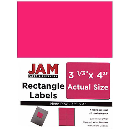 """JAM Paper® Mailing Address Labels, 354328046, 4"""" x 3 5/16"""", Neon Pink, Pack Of 120"""