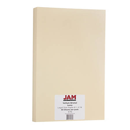 "JAM Paper® Cover Card Stock, 8 1/2"" x 14"", 67 Lb, Vellum Bristol Ivory, Pack Of 50 Sheets"