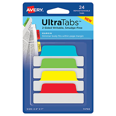 """Avery® Ultra Tabs™ Repositionable Tabs, Margin, 2.5"""" x 1"""", Assorted Primary, Set Of 24 Tabs"""