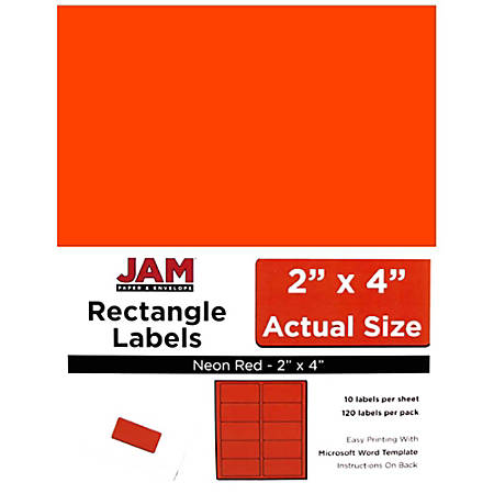 "JAM Paper® Rectangular Mailing Address Labels, 354328034, 2"" x 4"", Neon Red, Pack Of 120"