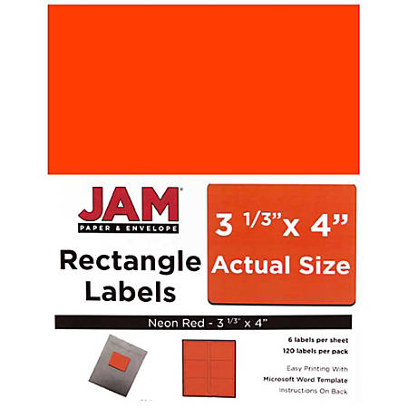 """JAM Paper® Mailing Address Labels, 354328040, 4"""" x 3 5/16"""", Neon Red, Pack Of 120"""