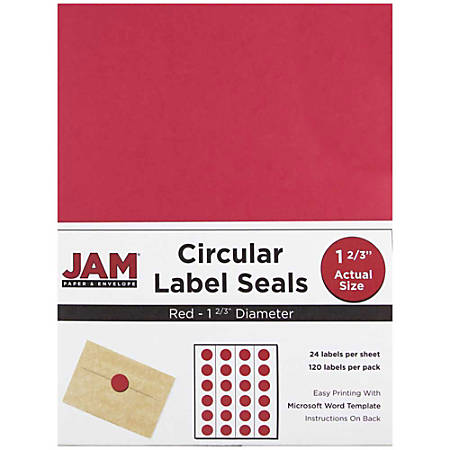"JAM Paper® Circle Label Sticker Seals, 1 11/16"", Red, Pack Of 120"
