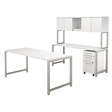 "Bush Business Furniture 400 Series 72""W x 30""D Table Desk And Credenza With Hutch And 3 Drawer Mobile File Cabinet, White, Premium Installation"