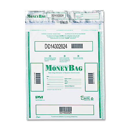 "PM Tamper-evident Deposit Bags - 9"" Width x 12"" Length - Clear - 100/Pack - Currency"