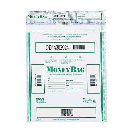 """PM® Company Tamper-Evident Money Bags, 15"""" x 20"""", Clear, Pack Of 50"""