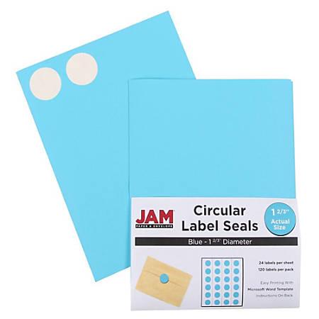 "JAM Paper® Circle Label Sticker Seals, 1 11/16"", Blue, Pack Of 120"