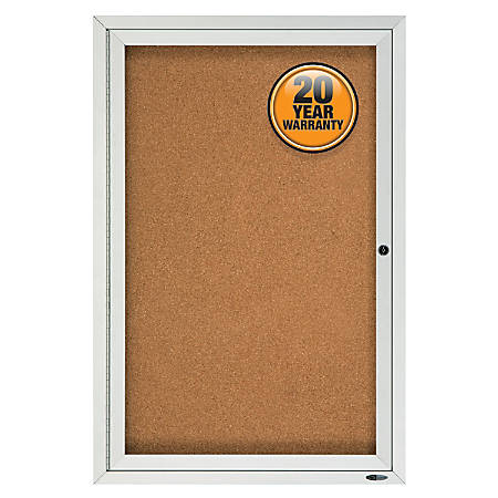 "Quartet® Enclosed Outdoor Bulletin Board, 1 Door, 36""H x 24""W"