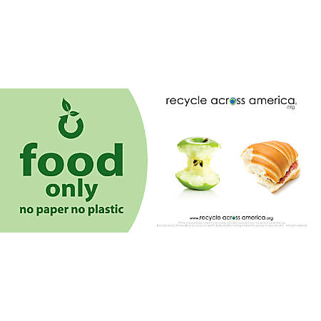 """Recycle Across America Food Standardized Recycling Label, FOOD-0409, 4"""" x 9"""", Light Green"""