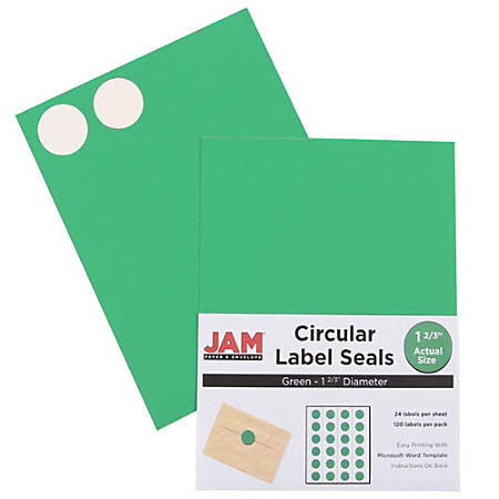 """JAM Paper® Circle Label Sticker Seals, 1 11/16"""", Green, Pack Of 120"""