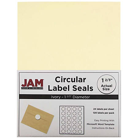 "JAM Paper® Circle Label Sticker Seals, 1 11/16"", Ivory, Pack Of 120"