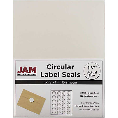"""JAM Paper® Circle Label Sticker Seals, 1 11/16"""", Ivory, Pack Of 120"""