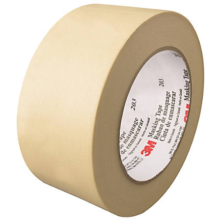 "3M™ 203 Masking Tape, 3"" Core, 2"" x 180', Natural, Pack Of 24"
