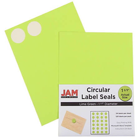 "JAM Paper® Circle Label Sticker Seals, 1 11/16"", Lime Green, Pack Of 120"