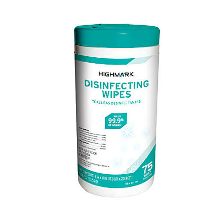 Highmark® Disinfectant Wipes, Container Of 75 Wipes