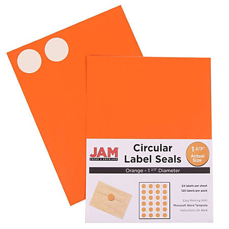 "JAM Paper® Circle Label Sticker Seals, 1 11/16"", Orange, Pack Of 120"