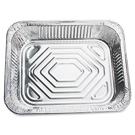 "Genuine Joe Half-size Disposable Aluminum Pan - 4 quart 0.50"" Diameter Pan - Aluminum - Cooking, Serving - Disposable - Silver - 100 Piece(s) / Carton"