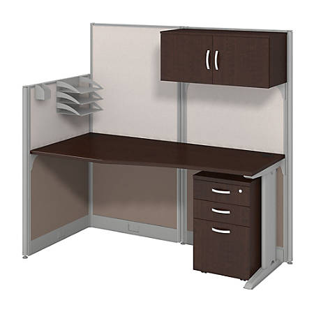 Bush Business Furniture Office In An Hour Straight Workstation With Storage & Accessory Kit,Mocha Cherry Finish, Standard Delivery
