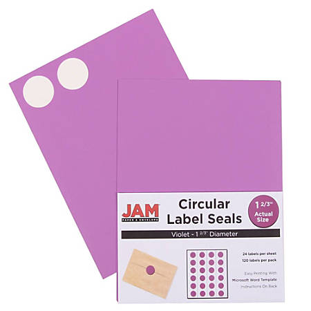 "JAM Paper® Circle Label Sticker Seals, 1 11/16"", Purple, Pack Of 120"