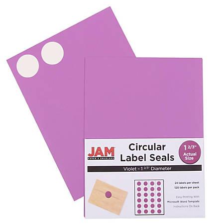 "JAM Paper® Circle Label Sticker Seals, 1 11/16"", Purple, Pack Of 120"