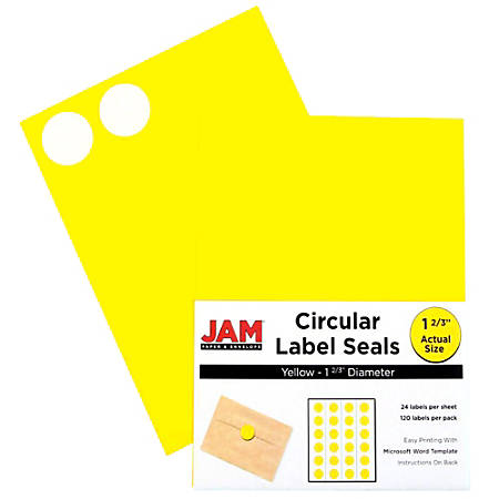"JAM Paper® Circle Label Sticker Seals, 1 11/16"", Yellow, Pack Of 120"