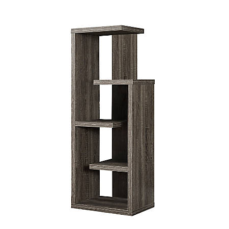 Monarch Specialties 5-Shelf Open-Concept Bookcase, Dark Taupe