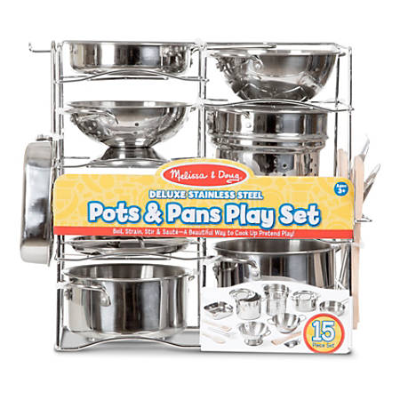 Melissa & Doug Pretend Play Educational Toys, Deluxe Stainless Steel Pots & Pans Play Set