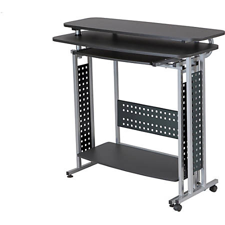 "Safco Scoot Standing Height Desk - Box 1 of 2 - Laminated, Black Rectangle Top - 47.25"" Table Top Width x 20"" Table Top Depth - 43.25"" Height - Assembly Required"