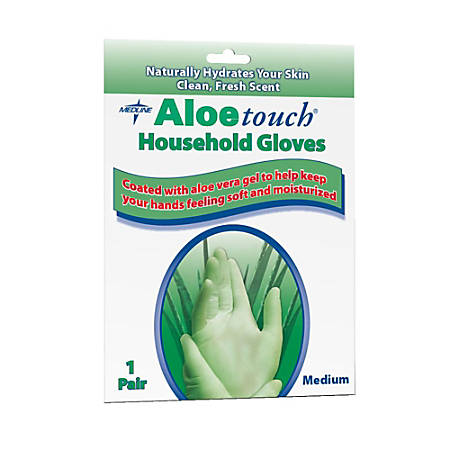 Medline Aloetouch Latex Household Gloves, Medium, Green, Pack Of 144
