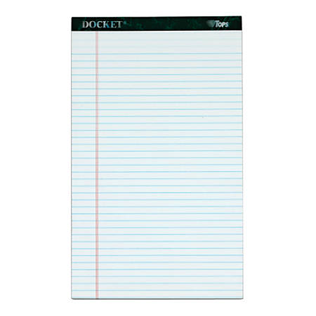 "TOPS™ Double Docket™ Writing Pads, 8 1/2"" x 14"", Legal Ruled, 50 Sheets, White, Pack Of 12 Pads"