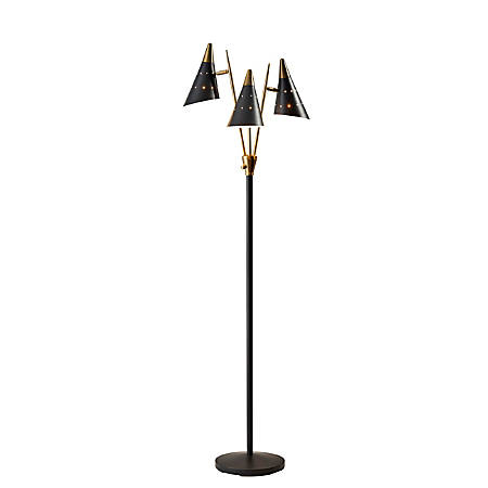 "Adesso® Nadine 3-Arm Floor Lamp, 66""H, Matte Black"