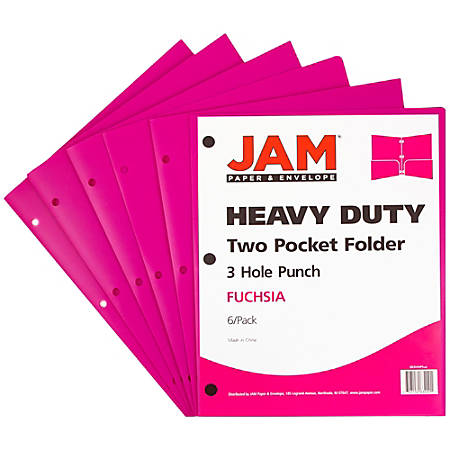 "JAM Paper® 3-Hole-Punched 2-Pocket Plastic Presentation Folders, 9"" x 12"", 1"" Capacity, Fuchsia Pink, Pack Of 6"