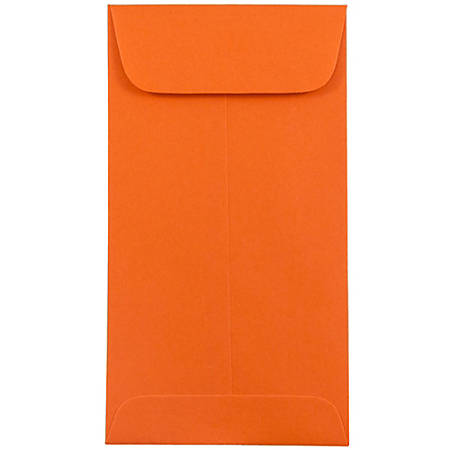 "JAM Paper® Open-End Coin Envelopes, #7, 3 1/2"" x 6 1/2"", Orange, Pack Of 25"