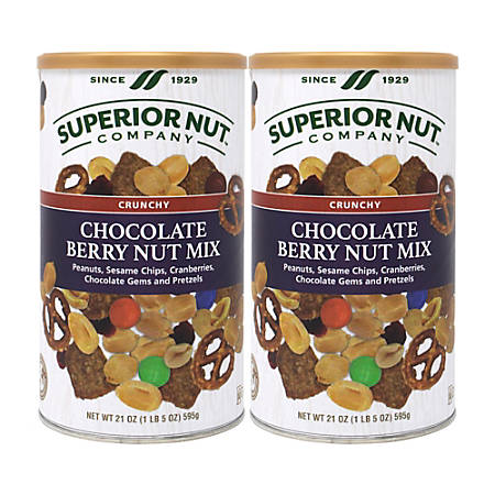 Superior Nut Crunchy Chocolate Berry Nut Mix, 21 Oz, Pack Of 2 Containers