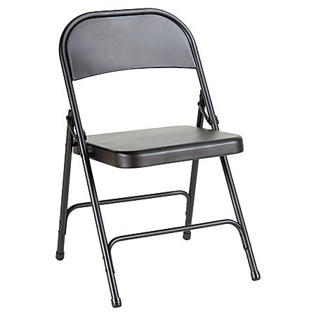 Alera Steel Folding Chairs, Graphite, Carton Of 4
