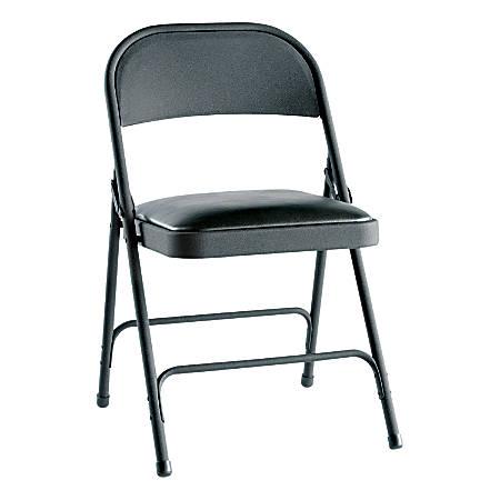 Alera Steel Folding Chairs, Padded Seat, Graphite, Carton Of 4
