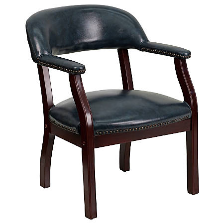 Flash Furniture Luxurious Vinyl Conference Chair, Navy/Brown