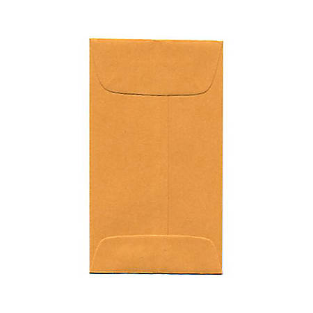 "JAM Paper® Open-End Coin Envelopes, #3, 2 1/2"" x 4 1/4"", Brown Kraft, Pack Of 25"