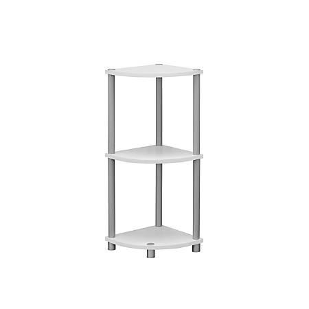 Monarch Specialties 3-Shelf Reversible Corner Accent Table, Black/White