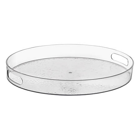 "Amscan Premium Plastic Serving Trays, 2""H x 16-1/2""W x 14""D, Clear, Pack Of 2 Trays"