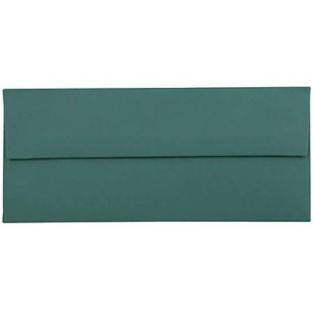 """JAM Paper® Booklet Envelopes With Gummed Closure, #10, 4 1/8"""" x 9 1/2"""", Teal, Pack Of 25"""