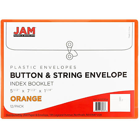 "JAM Paper® Index Booklet Plastic Envelopes, 5 1/2"" x 7 1/2"", Orange, Pack Of 12"