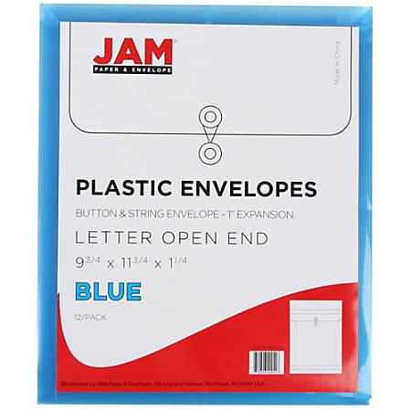 "JAM Paper® Open-End Plastic Envelopes, Letter-Size, 9 3/4"" x 11 3/4"", Blue, Pack Of 12"