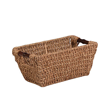 """Honey-Can-Do Seagrass Basket With Handles, 14 1/4""""L x 8 1/4""""W x 6 1/4""""H, Brown/Natural"""
