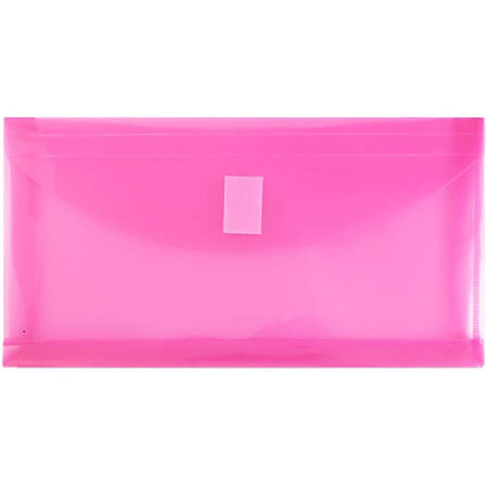 """JAM Paper® Plastic Booklet Envelopes With Hook-And-Loop Fastener, #10, 5 1/4"""" x 10"""", Fuchsia Pink, Pack Of 12"""